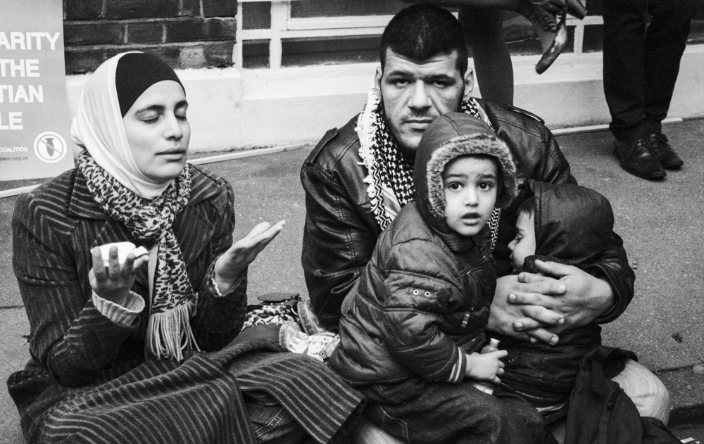 Egyptian family during a demonstration